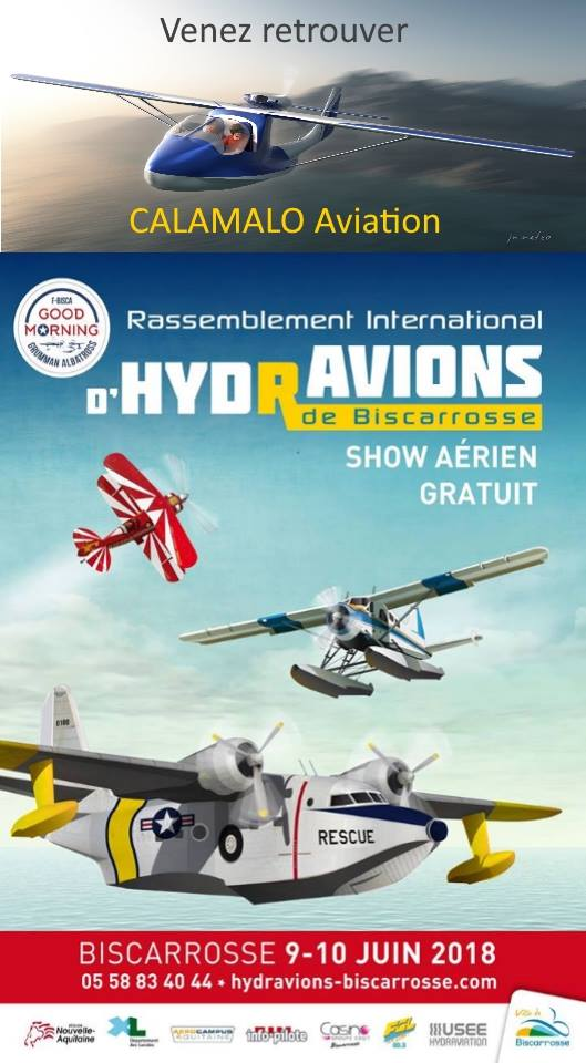 présence meeting Biscarrosse de la société de construction aéronautique d'hydravion CALAMALO Aviation