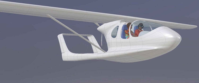 hydravion amphibie à foils rétractables Morgann by CALAMALO Aviation en vol foils rentés verrière ouverte