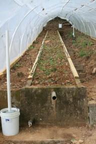Soil model with sprinkler heads, electrical line, meteorological station installed.