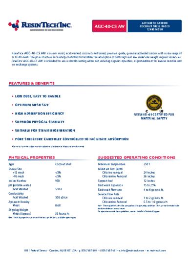 AGC-40-CS AW – Carbon Data Sheet