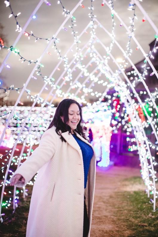 Christmas lights tunnel