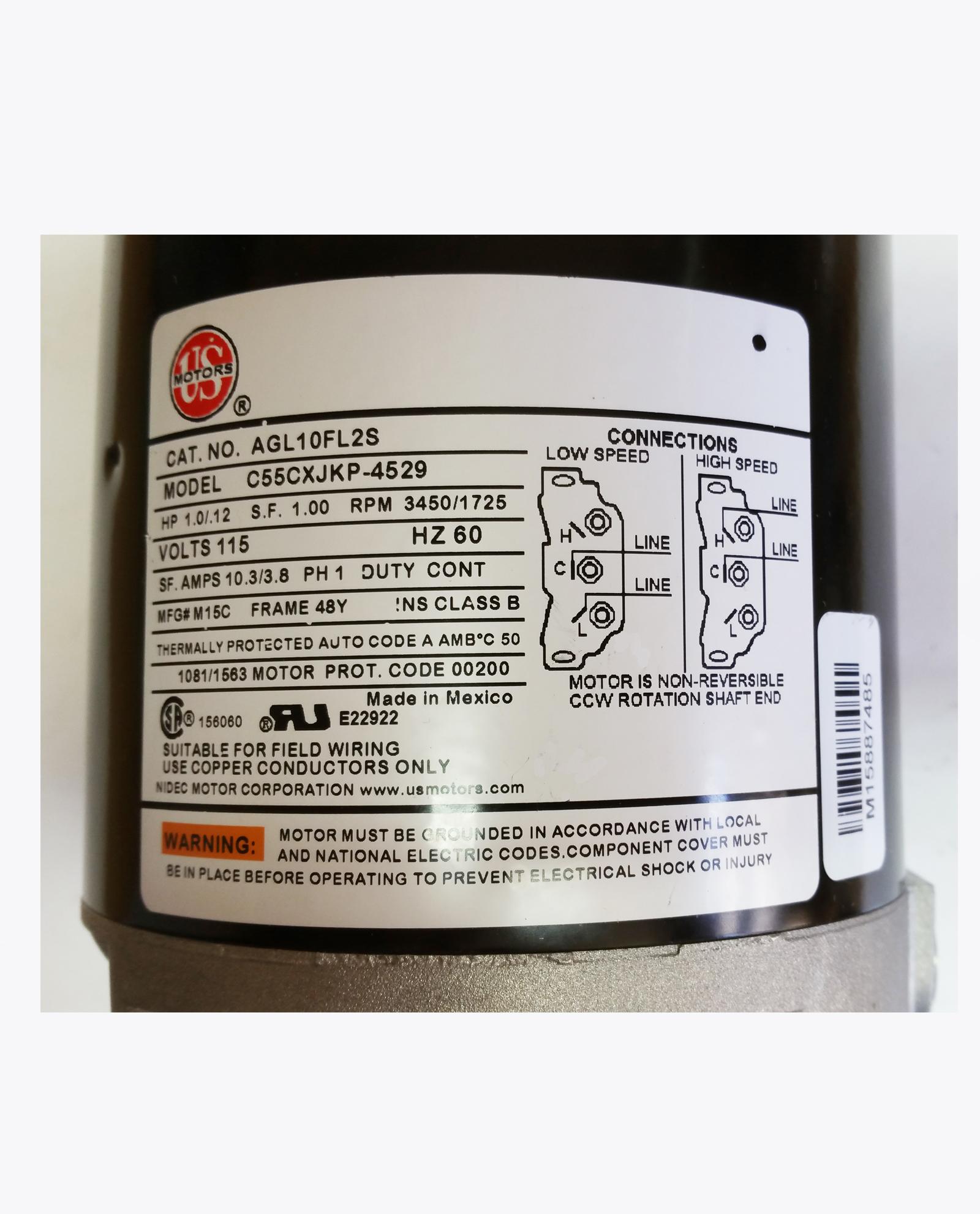 1 HP 34501725 RPM 48Y Frame 115Volt 2 Speed Hot Tub