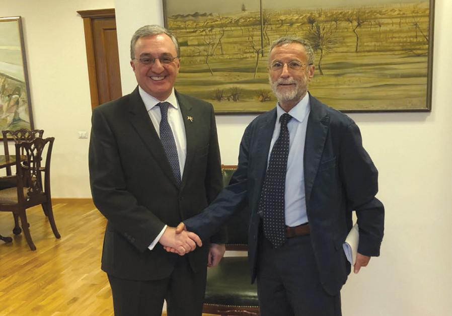 Foreign Minister Zohrab Mnatsakanyan (left) with Yossi Melman. (photo credit: YOSSI MELMAN)