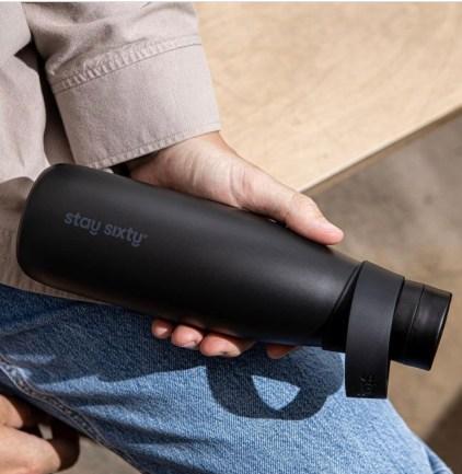 Matt black reusable water bottle. Modern Gifts For Him