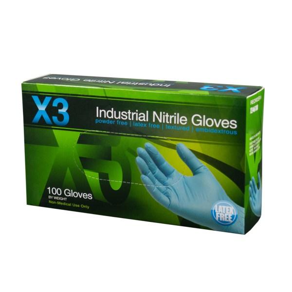 AMMEX X3 Blue Nitrile Gloves