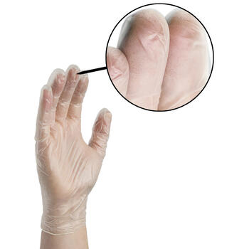 Gloveworks Clear Vinyl Gloves On Hand
