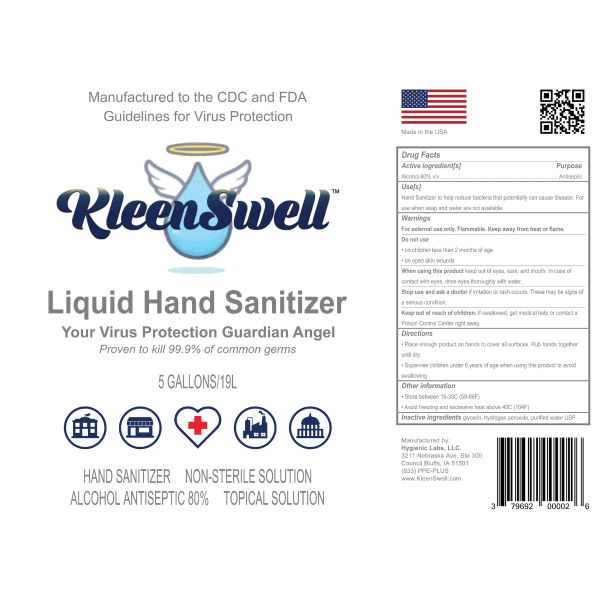 KleenSwell™ Liquid Hand Sanitizer 5-Gallon Pail label