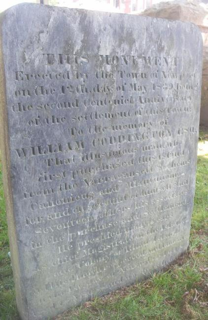 memorial marker to William Coddington, Coddington Cemetery, 34 Farewell Street, Newport, Rhode Island (photo credit: Sarnold17, 22 Jul 2011)