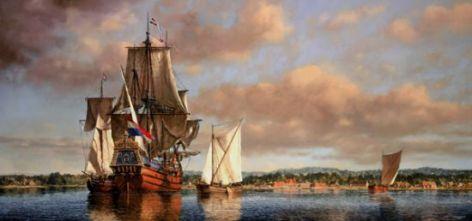 """A View of Fort Orange, 1652"", he Dutch merchant ship, ""Flower of Gelderland,"" at anchor © 2003 L.F. Tantillo (artist)"