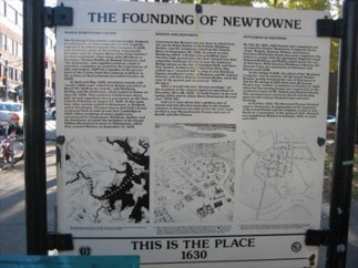 In the Harvard Square district of Cambridge, at Winthrop Park on Mt. Auburn Street, near the intersection with J. F. Kennedy Street, stands a historical station with text and illustrations of the founding of Newtowne, the original name of Cambridge.