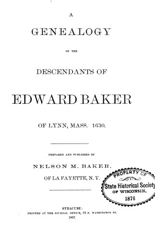 Genealogy of the descendants of Edward Baker by Baker 1867-title page