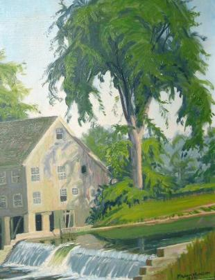 Painting of the Grist Mill by Frank Munson, 1956