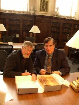 (Rev.) Dr. Charles K. Hartman (R) of First Baptist Church of Swansea and Dr. William H. Brackney (L) of Acadia University, Nova Scotia, with the Myles book at Brown University (photo credit: FBC in Swansea / Rev. C. Hartman)