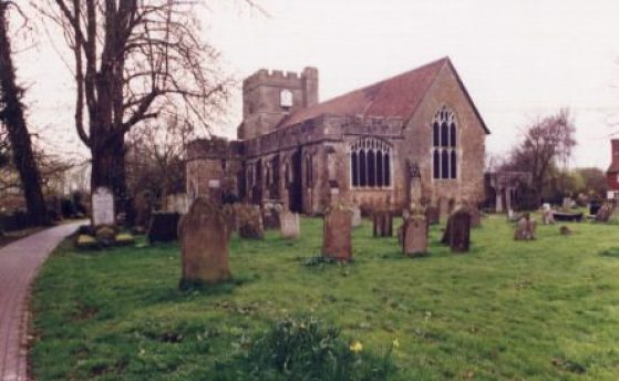 Headcorn Church (County Kent, England) with cemetery and the main walkway to the entrance