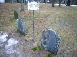 Sign marking the final resting place of John & Priscilla Alden