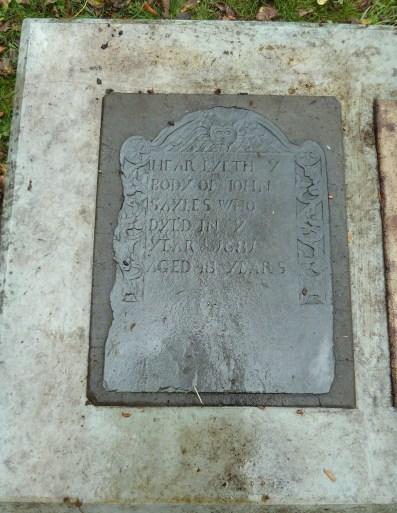Graves of Mary (Williams) Sayles (1633-1681) & John Sayles (1633-1681) - Easton Lot, Middletown, Rhode Island (photo credit: MRC)