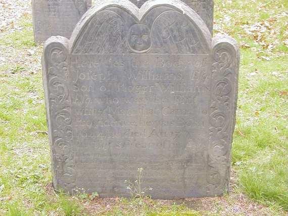 Joseph Williams (1643-1724) - grave marker; photo credit: Beverly J Peterson-Sawyer)