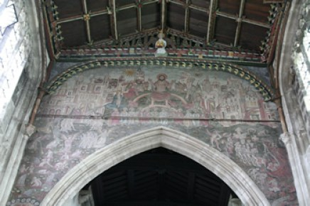"The Last Judgment or ""Doom"" mural, fills the wall above the chancel arch of St. Thomas Church in Salisbury."