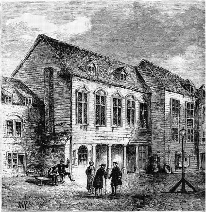 """Marshalsea Prison, London, where Annes father was detained for two years for """"heresy"""".  The prison occupied two locations, the first c. 1329-1811, and the second 1811-1842. The image above is of the first Marshalsea in the 18th century."""