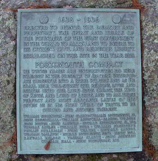Plaque commemorating the Portsmouth Compact (Portsmouth, Rhode Island)