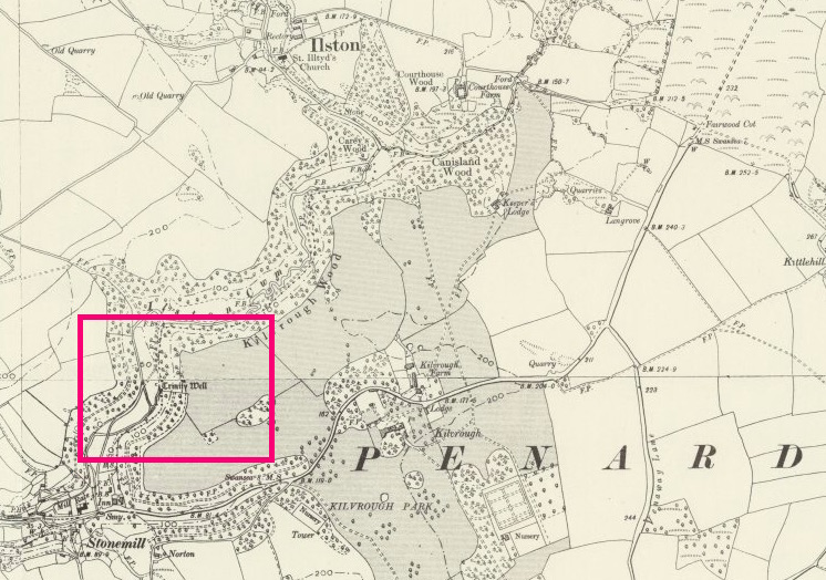 Location of Trinity Well near Ilston, Glamorgan, Wales (UK Ordnance Map)