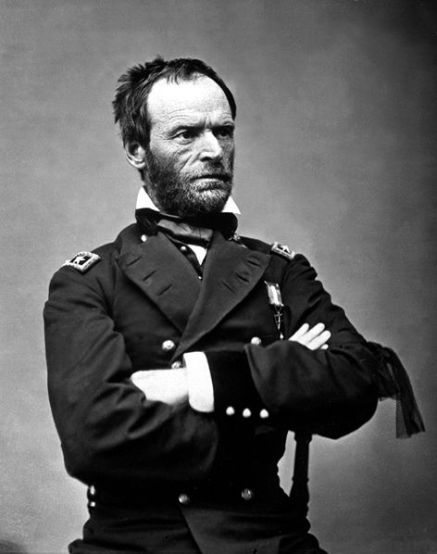 Sherman in May 1865. The black ribbon of mourning on his left arm is for President Lincoln (portrait by Mathew Brady)