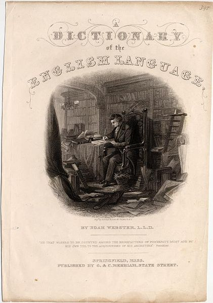 Title page of Webster's Dictionary of the English Language, circa 1830–1840