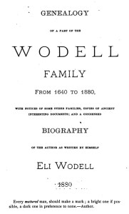 Wodell family_title page