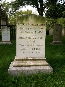 Grave of Oliver Wendell Holmes, Sr. and his wife at Mount Auburn Cemetery in Cambridge, Massachusetts
