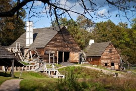 The Restored Saugus Ironworks in Saugus, Massachusetts