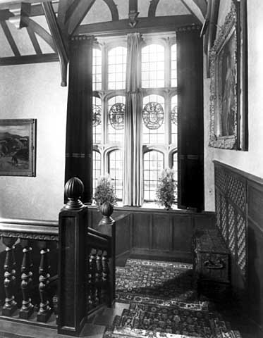The great south window of stained glass panels