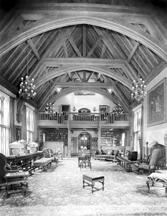 Looking north from middle of Great Hall showing library, Minstrel's Gallery and Main Hall