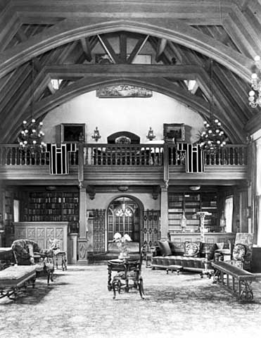 North end of Great Hall showing library, Minstrel's Gallery and Main Hall