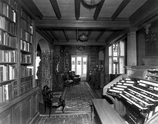 Library looking east, showing Aeolian Duo-Art organ console
