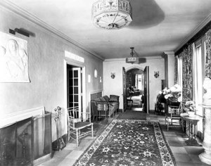 The sun room looking east in library, showing marble sculptures inserted in north wall