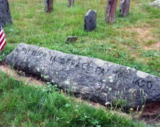 """Grace Palmer's """"wolf stone"""" marker in Wequetequock cemetery."""