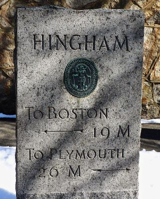 Hingham distance marker (19 miles from Boston; 26 miles from Plymouth)