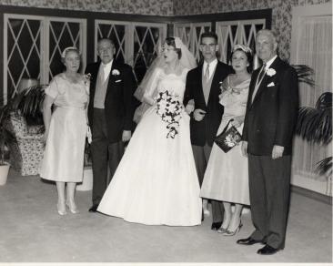 Ingrid (Hylbom) Hetfield wedding photo, 29 Dec 1956; L-R: Elizabeth Hylbom, Tor Hylbom, Ingrid, Walter Levi Hetfield IV, Estelle Burke Hetfield, Judge Walter L. Hetfield III
