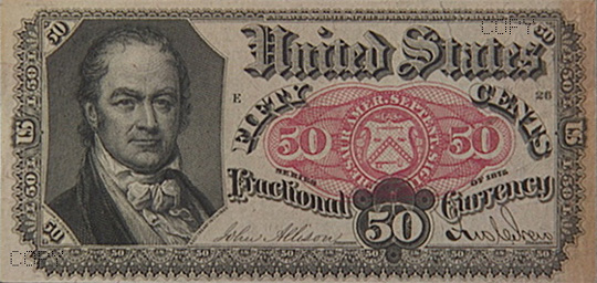 The 50 cent treasury note bearing Crawford's portrait.  For a brief period in the 1870s the United States Treasury experimented with the issuance of fractional currency. This was done because in the decade following the Civil War, the demand for coinage far exceeded the availability of the metals needed to mint them.  Fractional currency proved immensely unpopular with the public and was quickly abandoned.