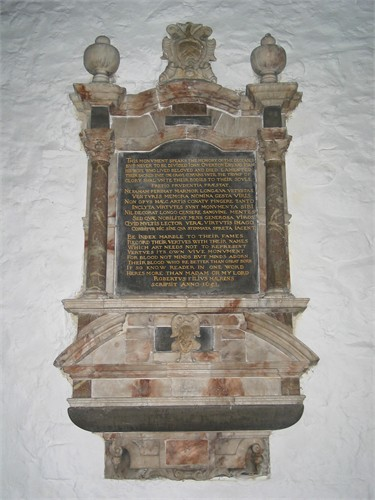 The marble tablet in Easington Church to the memory of his parents, John and Joan Overton (photo courtesy of P. Crowther, 2007)