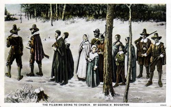 """George Boughton's most famous Pilgrim painting, originally entitled """"New England Puritans Going to Church"""" (1868)"""