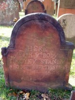The Ancient Burying Ground is the oldest historic site in Hartford, and the only one surviving from the 1600s. From 1640, four years after the arrival of the first English settlers, down until the early 1800s, it was Hartford's first and foremost graveyard. During that period anyone who died in town, regardless of age, gender, race, ethnic background, economic status, or religious faith, was interred here. The oldest gravestone is believed to be that for Timothy Stanley, who died in 1648 (photo taken 3 Dec 2006).
