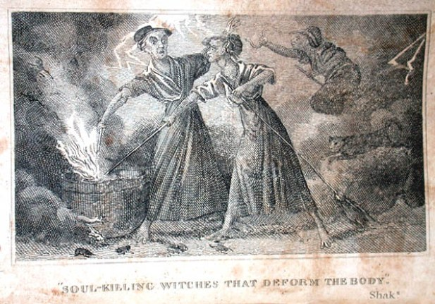 """The soul-killing witches that deform the body,"" Shaks. - The image shows two witches stirring a steaming cauldron. It was published in a 1828 edition of Robert Calef's ""More Wonders of the Invisible World""."