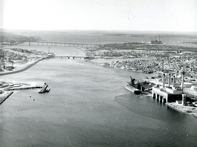 An old photo of Fall River, Massachusetts, looking out over the bay, with the Brightman Street Bridge, foreground, and Braga Bridge. (GateHouse News Service file photo)