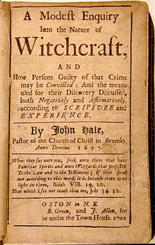 "Title page of ""A Modest Enquiry Into the Nature of Witchcraft"" by Rev. John Hale (Boston, 1702)"