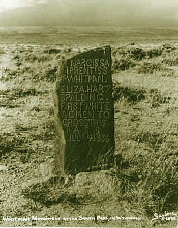 An old photograpsh of the Spalding-Whitman marker (South Pass, Wyoming)