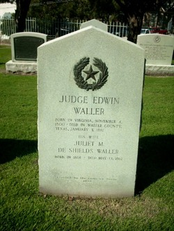 Edwin Waller is buried at the Texas State Cemetery in Austin (Plot: Republic Hill - Section 1, Row T, Plot 11 - GPS: 30.15925 / -97.43647)