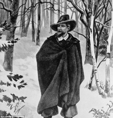 Roger Williams (1603-1683) founder of Rhode Island, is depicted here being driven from Massachusetts into the wilderness because of religious differences.