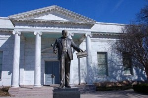 This statue is located in the edge of downtown Bonham, Texas in front of the Sam Rayburn Library. He is regarded by historians as the most effective Speaker in history.