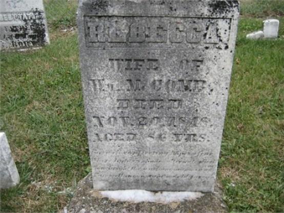 Rebecca (Kearsley) McComb grave marker - Truro Presbyterian Cemetery, Madison Township, Franklin County, Ohio